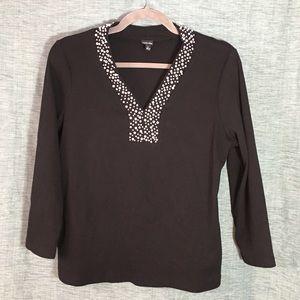 ❤️ Rafaella Black Sweater with Pearls Trim Size L